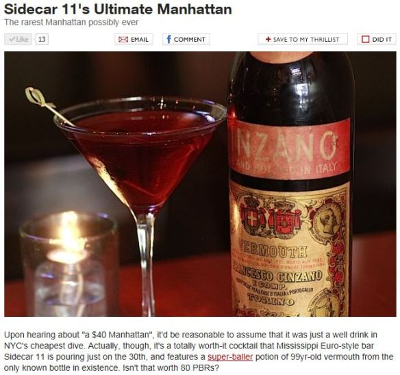 Thrillist rarest Manhattan